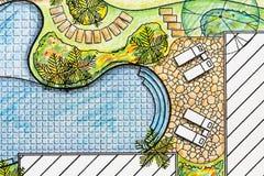 Plan del patio trasero del diseño del arquitecto paisajista Fotografía de archivo