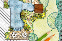 Plan del patio trasero del diseño del arquitecto paisajista Fotos de archivo libres de regalías