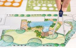 Plan del patio trasero del diseño del arquitecto paisajista Imágenes de archivo libres de regalías