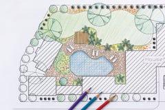 Plan del patio trasero del diseño del arquitecto paisajista para el chalet Fotos de archivo