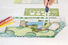 Plan del patio trasero del diseño del arquitecto paisajista para el chalet Fotos de archivo libres de regalías