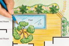 Plan del patio trasero del diseño del arquitecto paisajista para el chalet imagen de archivo libre de regalías