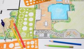 Plan del patio del patio trasero del diseño del arquitecto paisajista imagen de archivo libre de regalías