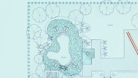 Plan del patio trasero del diseño del arquitecto paisajista del modelo almacen de metraje de vídeo