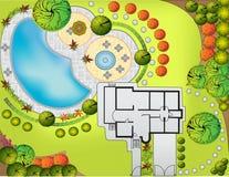Plan der Landschaft und des Gartens Stockfoto