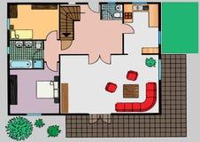 Plan der Wohnung die Draufsicht Lizenzfreies Stockbild