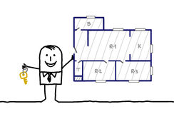 Plan des des Immobilienmaklers u. apertment Stockfoto