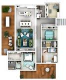Plan des Fußbodens 3D Lizenzfreies Stockfoto