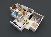 Plan des Fußbodens 3D stockbild