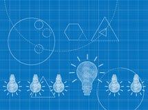 Plan des Innovationskonzeptes mit Glühlampen lizenzfreie abbildung