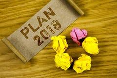 Plan 2018 des textes d'écriture de Word Concept d'affaires pour des buts provocants d'idées pour que la motivation de nouvelle an Photo libre de droits