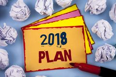 Plan des textes 2018 d'écriture de Word Concept d'affaires pour des buts provocants d'idées pour que la motivation de nouvelle an Image libre de droits