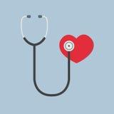 Plan design av röd hjärta och stetoskopet, medicinsk illustration, hälsovård Royaltyfri Foto