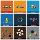 Plan design av symboler för kontorsfolkvektor stock illustrationer