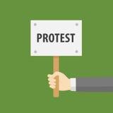 Plan design av tecknet för handinnehavprotest Arkivbilder