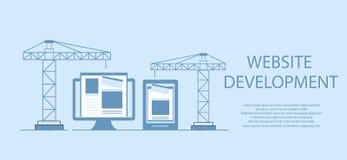 Plan design av websiten under konstruktion, webbsidabyggnadsprocess, platsformorientering av rengöringsdukutveckling royaltyfri illustrationer