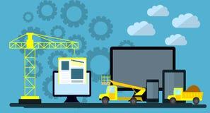 Plan design av websiten under konstruktion, webbsidabyggnadsprocess, platsformorientering av rengöringsdukutveckling stock illustrationer
