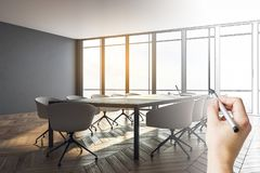 Plan and design concept. Hand drawn meeting room interior with city view and furniture. Plan and design concept royalty free stock photography