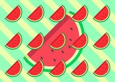 Plan design för vattenmelon med illustrationen för färg för bakgrund den retro gröna och gula designvektor stock illustrationer