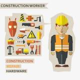 Plan design Frilans- infographic Byggnadsarbetare med hjälpmedel och material för reparationen och konstruktionen Royaltyfria Foton