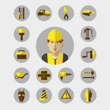 Plan design Frilans- infographic Byggnadsarbetare med hjälpmedel och material för reparationen och konstruktionen Arkivfoton