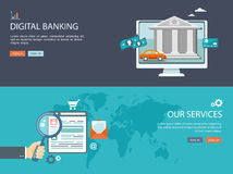 Plan designillustrationuppsättning med symboler och text Digital bankrörelsen royaltyfri illustrationer