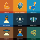 Plan designlinje symboler av vishet, kunskap, fantasi - conce Arkivbild