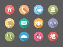 Plan designrengöringsduk, kommunikationssymboler: internet stock illustrationer