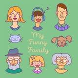 Plan designsymbolssamling av familjemedlemavatars: mamma, farsa, son, dotter, farmor, farfar, hund och katt Vektorsänka Arkivbilder
