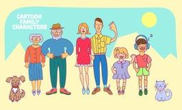 Plan designsymbolssamling av familjemedlemavatars: mamma, farsa, son, dotter, farmor, farfar, hund och katt Vektorsänka Arkivfoton