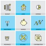 Plan designuppsättning av vektorlinjen symboler av budget- lånkostnadsinve Arkivfoton