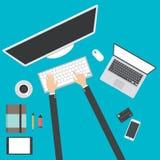 Plan designvektorillustration av modern idérik kontorsworkspace, kontoret av en idérik arbetare vektor illustrationer
