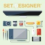Plan designvektorillustration av objekt, hjälpmedel och utrustning för grafisk formgivare stock illustrationer