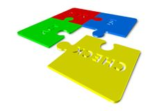 Plan Do Check Act - 3d render illustration of puzzles. Wherein one piece is separated stock illustration