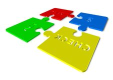 Plan Do Check Act - 3d render illustration of puzzles. Wherein all pieces are separated Stock Images