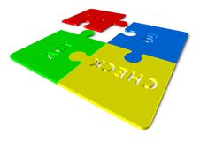 Plan Do Check Act - 3d render illustration of puzzles. Wherein one piece is separated Royalty Free Stock Photo