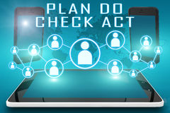 Plan Do Check Act. Text illustration with social icons and tablet computer and mobile cellphones on cyan digital world map background royalty free illustration