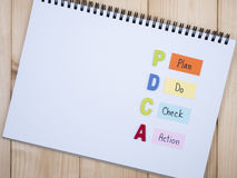 Plan, Do, Check, Action on notebook  Royalty Free Stock Image
