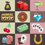 Plan dobbleri, kasino, pengar, seger, jackpott, lyckavektorsymboler Royaltyfria Bilder
