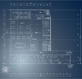 Plan document. Architectural blueprint of industry building - technical document Royalty Free Stock Image