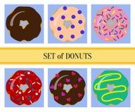 Plan donutsuppsättning Royaltyfri Fotografi