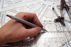 Plan drawing. Printouts of architectural plan drawings royalty free stock images