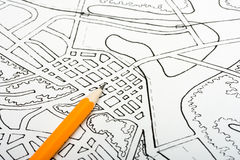 Plan drawing. Urban plan of a city project drawings background royalty free stock photos