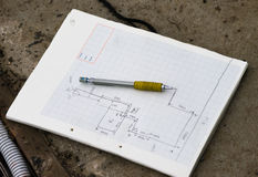 Plan drawing and pencil Stock Images