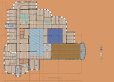 Plan Drawing Public Building Royalty Free Stock Photo