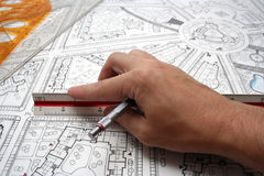 Plan drawings. Printouts of architectural plan drawings royalty free stock photo