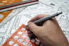 Plan drawings. Printouts of architectural plan drawings stock photo