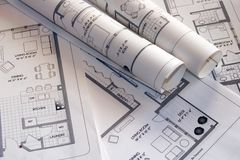 Plan drawings royalty free stock photography