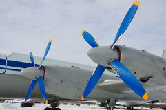 The plane is dream of the sky. Angle view of plane with 2 engine and screws. Photo taked in winter on blu sky background. The plane to be near Ulyanovsk airport Stock Images