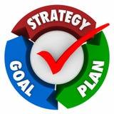 Plan Drie van het strategiedoel de Opdracht van het Pijldiagram bereikt Succes stock illustratie